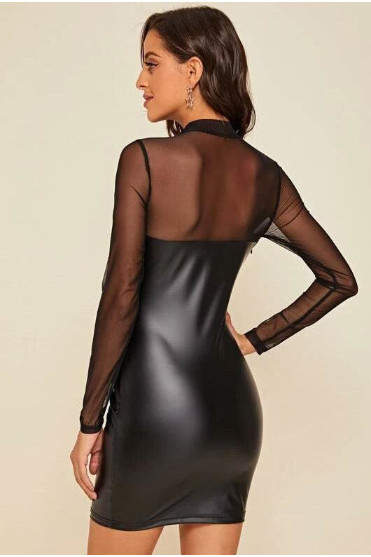 High Neck Sheer Mesh Insert PU Dress