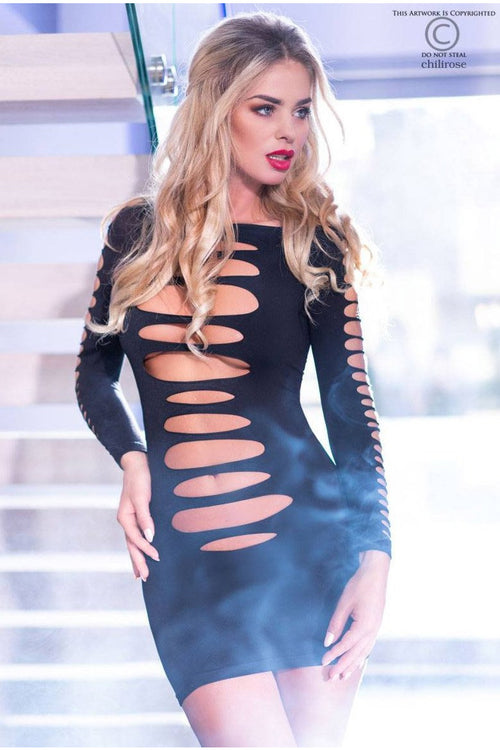 Slashed Black Mini Dress