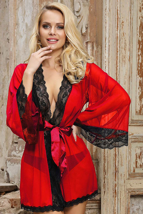 Red & Black Sheer Desire Robe-Nightwear-PureDiva