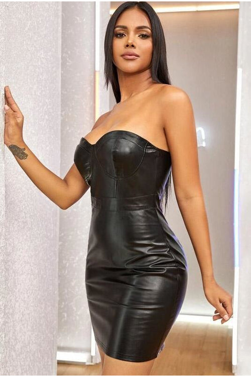 Black PU Cup Bodycon Dress