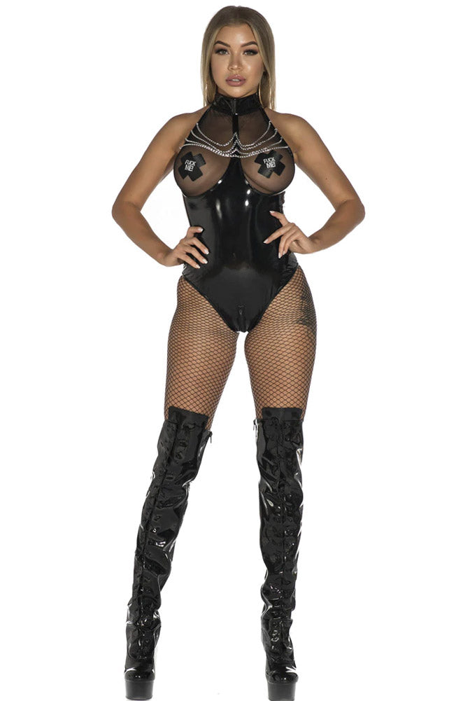 Wet Look Open Crotch Playsuit Bodysuit-Teddy-PureDiva