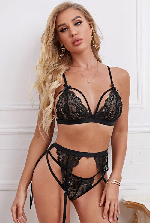 bra set 3 Piece Garter Set - Black-Bra Sets-PureDiva