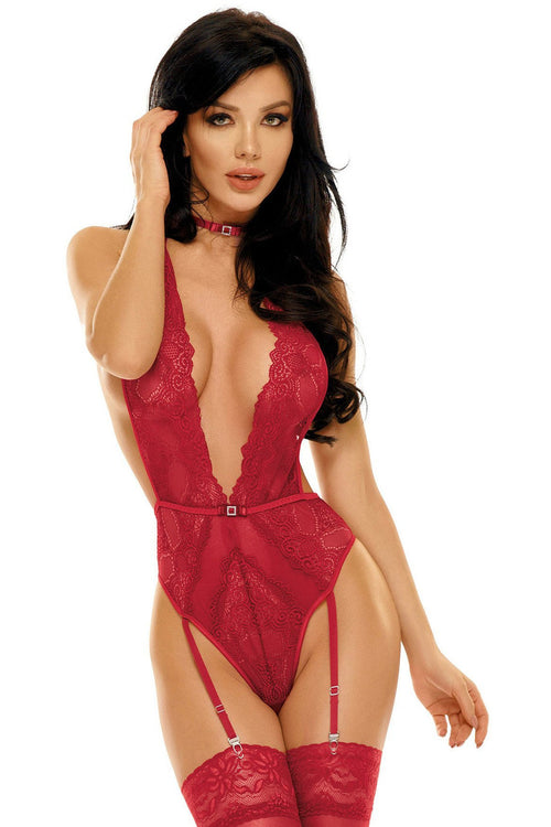 Red Cherry Candy Adelaide Sexy Teddy-Teddy-PureDiva