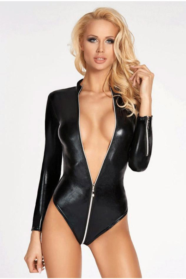 Wet Look Long Sleeve Zipper Bodysuit