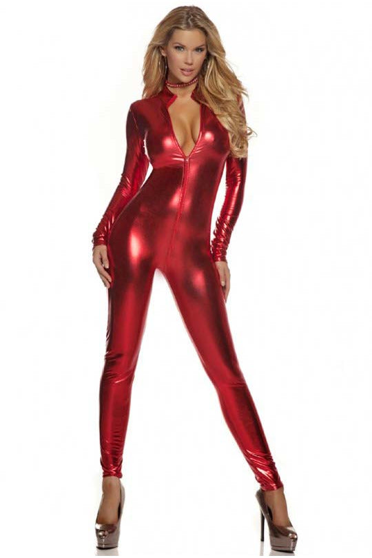 2-Way Zip Red Wetlook Catsuit - PureDiva