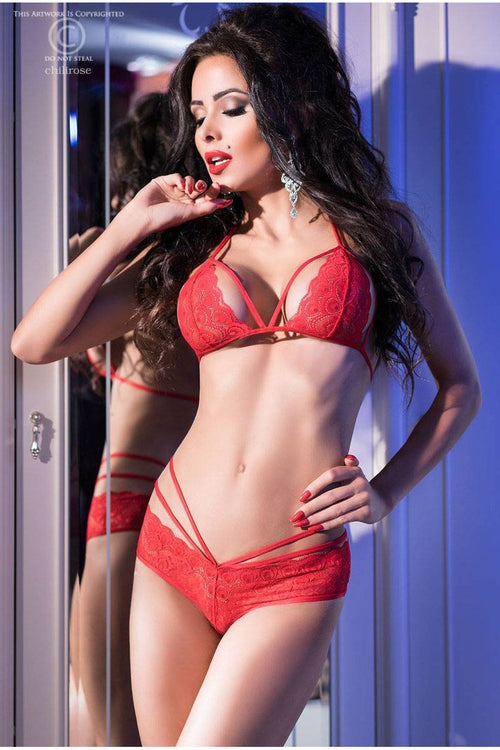 Red Strappy Lace Triangle Bra Set