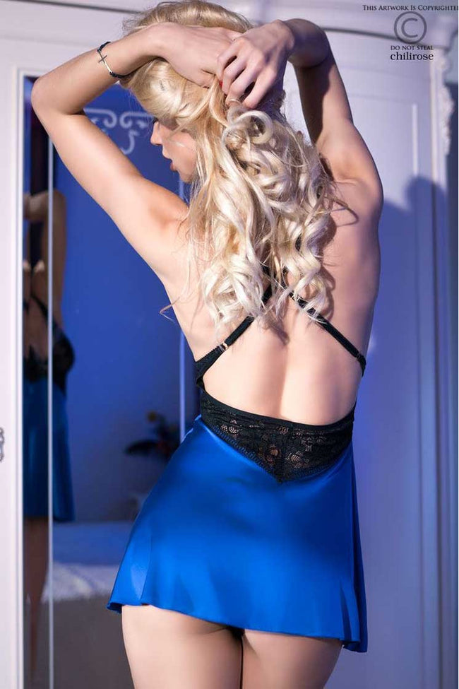 Sexy Satin Blue & Black Babydoll