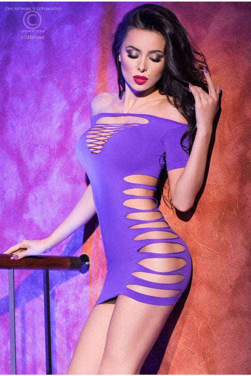 Off The Shoulder Purple Slashed Dress