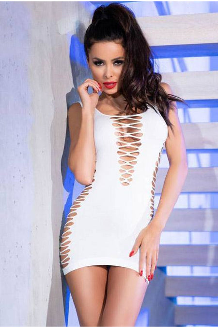 Red Sensation PVC Open Nipple Mini Dress
