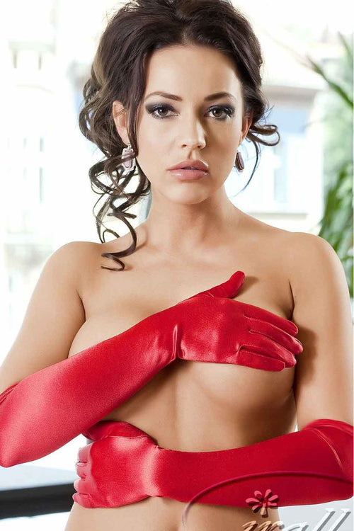 Irall Red Satin Gloves - PureDiva