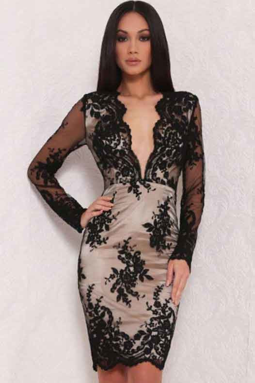 Deep V Neck Black Floral Lace Dress-Party Dresses-PureDiva