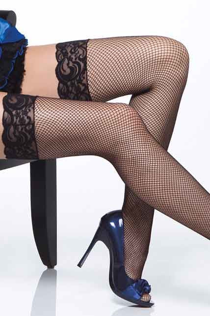 Stay-up fishnet stockings