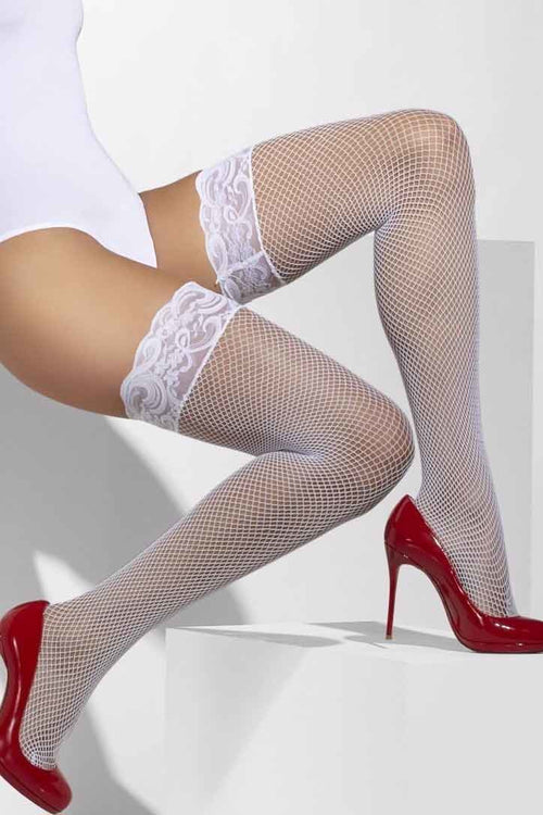 White Stay-up fishnet stockings