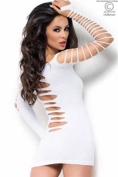 White Shredded Mini Dress