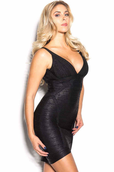 Black Metallic Bodycon Cocktail Party Bandage Dress - PureDiva