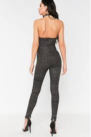 Black Glitter Halterneck Jumpsuit-Party Dresses-PureDiva