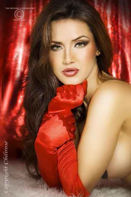 Satin Red Gloves