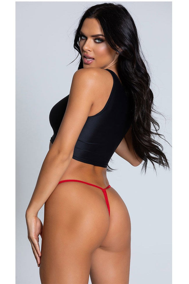 Wet Look Red Y-Back Thong