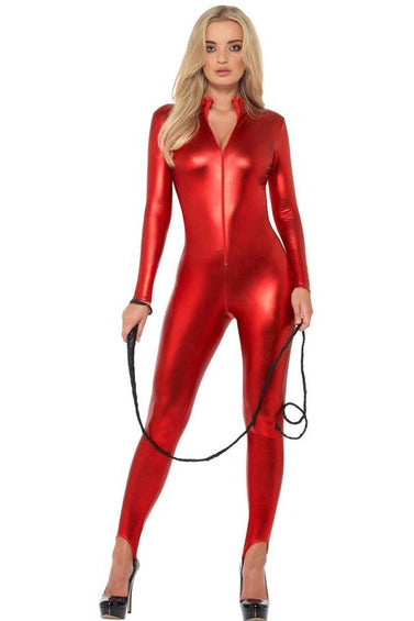 Metallic Red Zipfront Catsuit-Clubwear-PureDiva