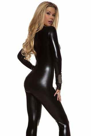 2-Way Zip Black Wetlook Catsuit - PureDiva