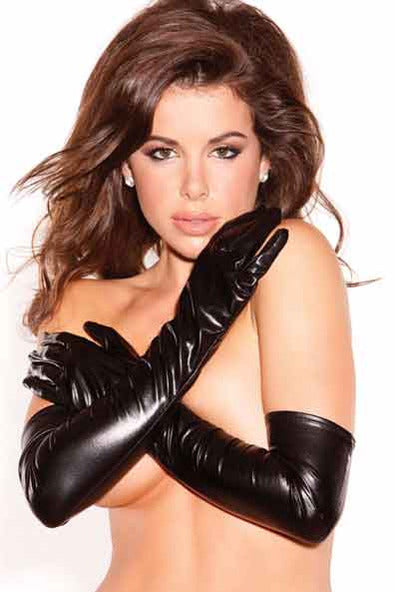 Black Wetlook Pvc Long Gloves - PureDiva