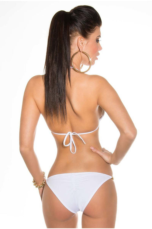 White Sexy Bikini with chain-Bra Sets-PureDiva