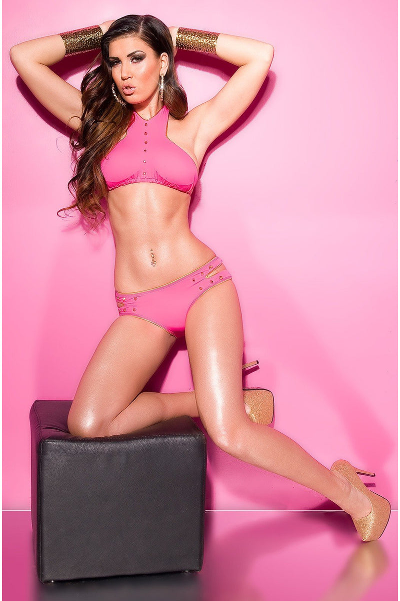 Hot Pink Sexy Bikinis with studs-Bra Sets-PureDiva
