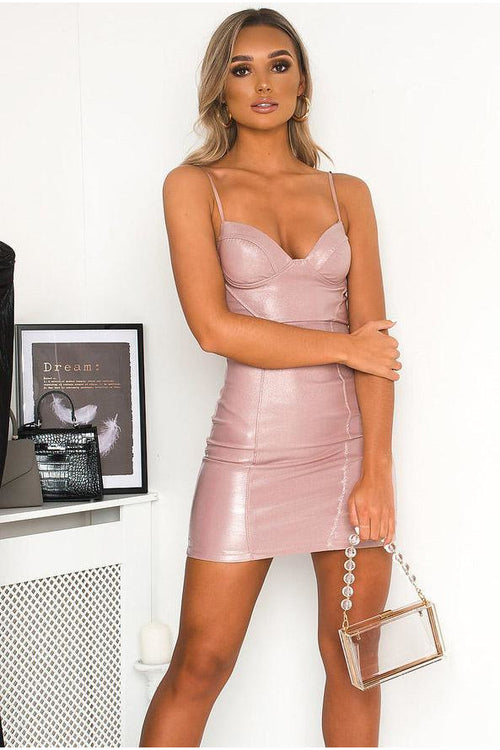 Pink Glitter Strappy Mini Dress
