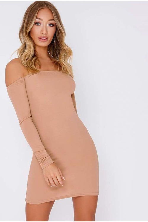 Nude off the shoulder bodycon dress