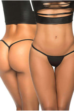 Wet Look Black Y-Back Thong-Knickers-PureDiva