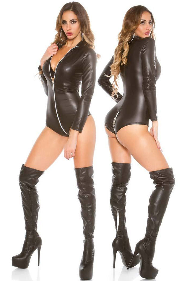 Black Bodysuit 2 Way Zip Body-PureDiva