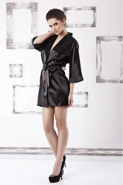Long Sleeve Black Satin Robe - PureDiva