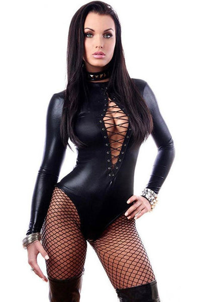 Wet Look Dominating Diva Bodysuit