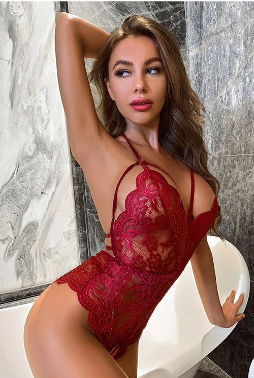 Burgundy Crotchless Lace Teddy-Teddy-PureDiva
