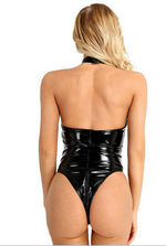 PVC Wet Look Playsuit Bodysuit-Teddy-PureDiva