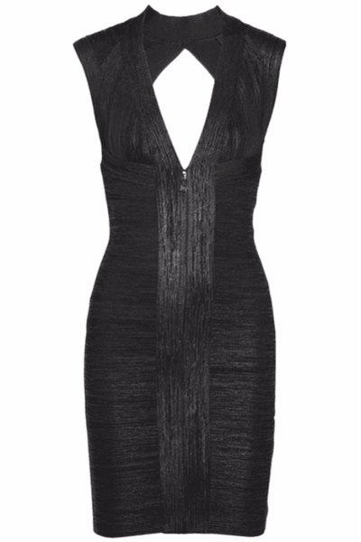 Black Glitter Bandage Dress - PureDiva