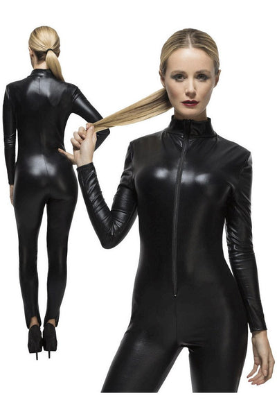 Black Long Sleeved Wet Look Cat Suit - PureDiva