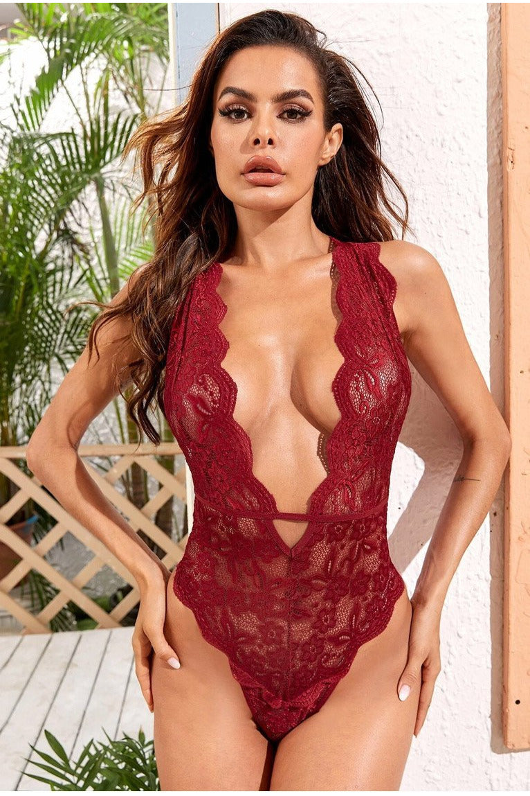 Burgundy Lace Teddy-Teddy-PureDiva