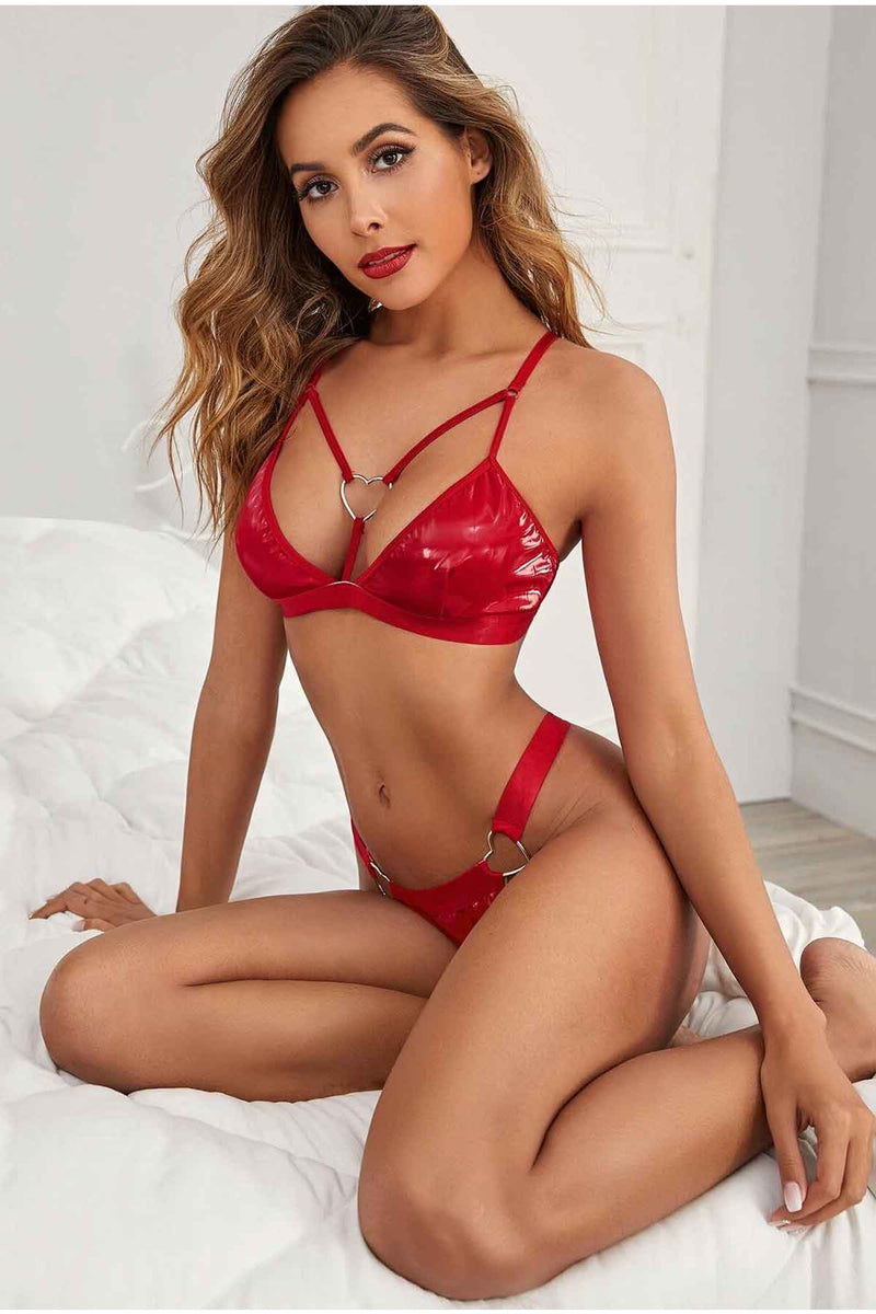 Midnight Love Bite PU Bra Set-Bra Sets-PureDiva