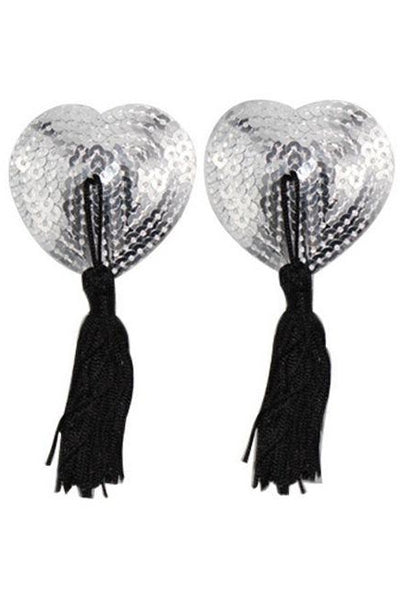 Silver Heart Sequin Tassel Pasties