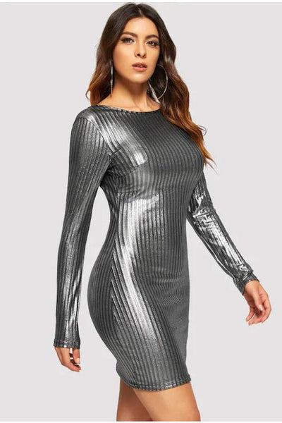 Silver Metallic Long Sleeve Dress