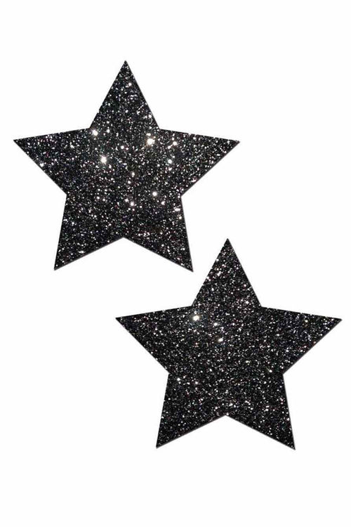 Black Glittery Star Pasties - PureDiva