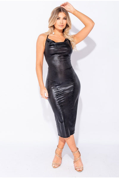 Snake Print Cowl Front Tie Up Back Midi Dress