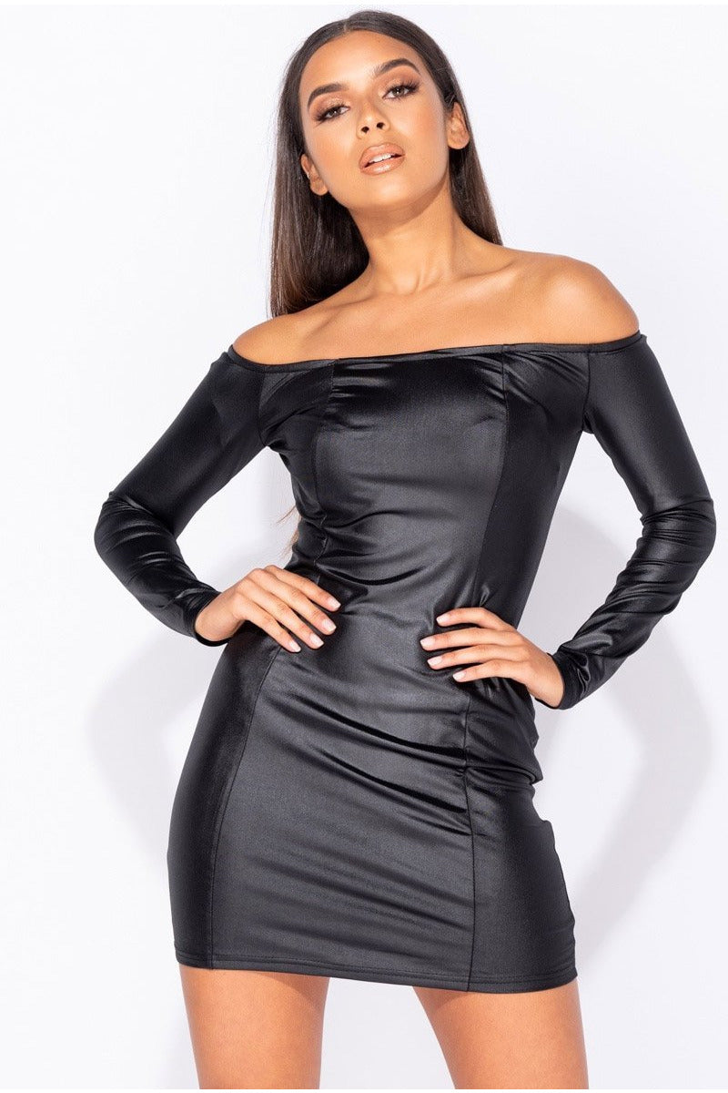 Wet Look Long Sleeve Bodycon Dress-Party Dresses-PureDiva