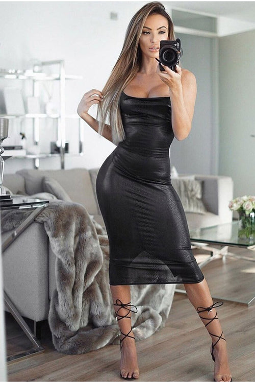 Snake Print Cowl Front Tie Up Back Midi Dress-Party Dresses-PureDiva