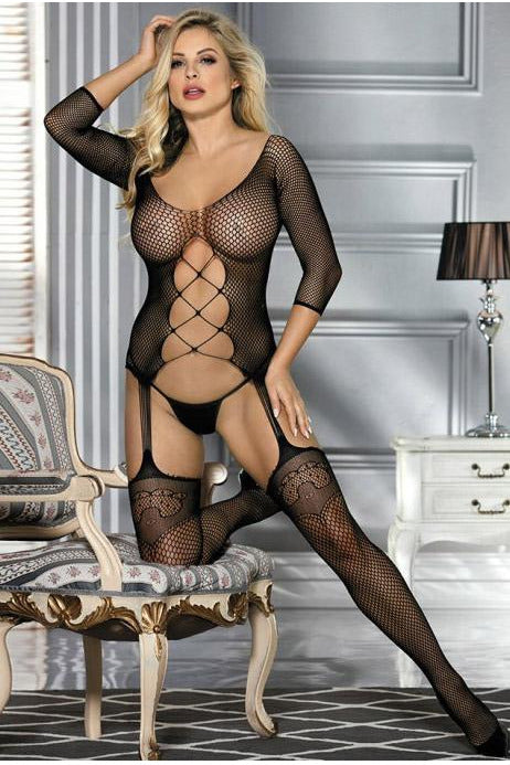 Plus Size Fishnet Black Bodystocking-Body stockings-PureDiva