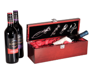 Rosewood Piano Finish Single Wine Box with Tools #WBX01