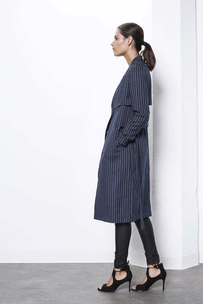 Shilla Prime Pin Stripe Trench