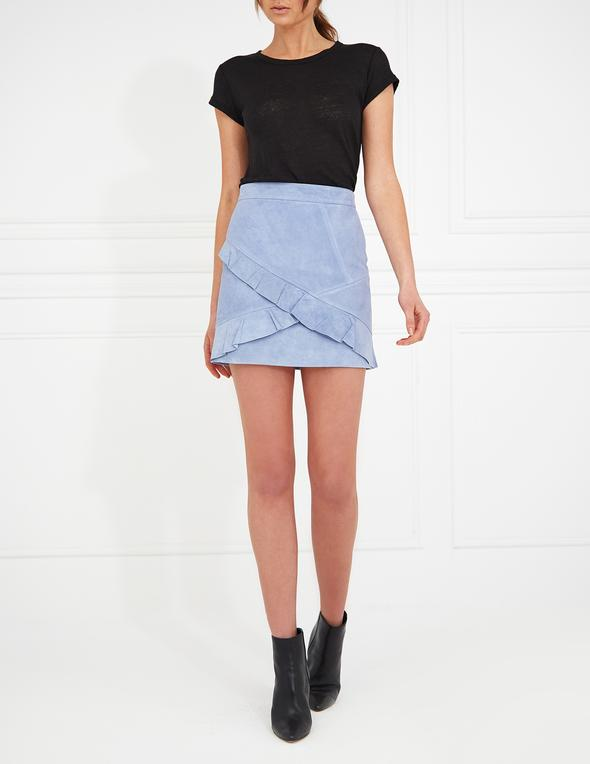 Ena Pelly Frill Mini Skirt | Blue with silver hardware