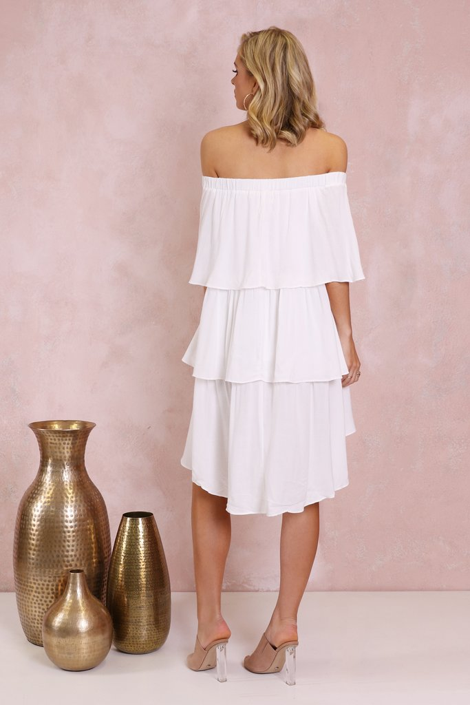 Lost in Lunar Santana Off The Shoulder Dress in White